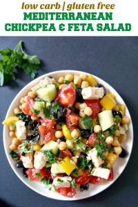 Mediterranean Chickpea Salad with Feta, a healthy salad for any season. It has a light dressing that gives the ingredients a boost of freshness and extra taste. Low carb, vegetarian, great for the whole family, this easy salad can be made in under 5 minutes.