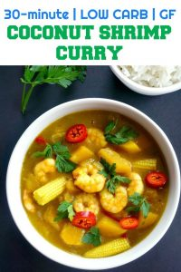 Coconut Shrimp Curry with vegetables, a super quick and easy recipe that is low carb and gluten free. It's packed with fantastic flavours, and it's definitely one of my favourite comfort food recipes for the cold weather ahead.