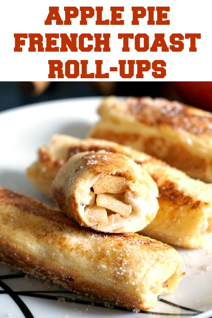 Apple Pie French Toast Roll-Ups, an indulgent breakfast or brunch that tastes of Fall. Perfect for lazy weekend days when you want to treat yourself, these roll-ups can also be enjoyed as a dessert, or snack. Super quick and easy, perfect for the whole family. A fabulous breakfast idea for Thanksgiving.