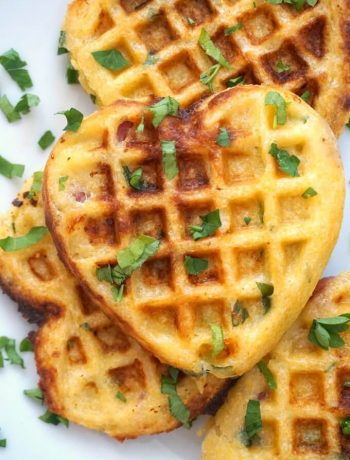 Close-up shoot of Cornbread Waffles with Bacon and Cheddar