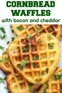Savoury Cornbread Waffles with Bacon and Cheddar, a delicious and posh breakfast or brunch. Filling enough to be served on their own, these waffles are a big hit with the whole family. They can also be added to your kids' lunch box for a nutritious lunch, making back to school easy peasy. Ready in under 30 minutes.