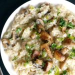 Creamy Mushroom Risotto with fresh mushrooms and parmesan, a quick and easy vegetarian dinner recipe that is sure to impress everyone. You can't even say it doesn't have wine like the classic recipe, it's absolutely delicious and so comforting.