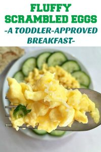Fluffy Scrambled Eggs, a healthy and delicious breakfast that is low carb and loaded with essential vitamins and minerals. It's the ideal start of the day, and the perfect recipe for picky eaters. A toddler-approved breakfast.