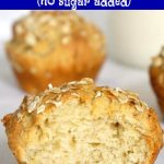 Healthy Banana Muffins for toddlers and kids, and even babies over 6 months old. They have no refined sugar added, their sweetness coming from the mashed banana. The banana muffins are fluffy and moist, made with Greek yogurt, eggs and butter, and topped with oats. They are the best finger food if you choose the baby led weaning, and make a great breakfast or snack. So delicious, and easy to make, ready in about 30 minutes. #bananamuffins, #nosugar, #toddlerfood, #babyledweaning, #healthysnacks