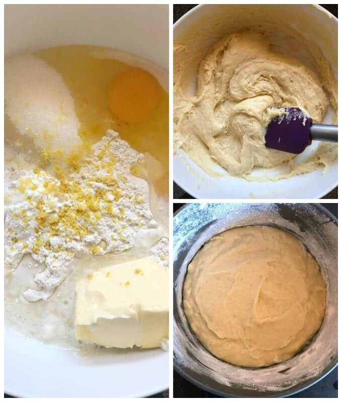 Collage of 3 photos to show how to make Mary Berry's Lemon Drizzle Cake