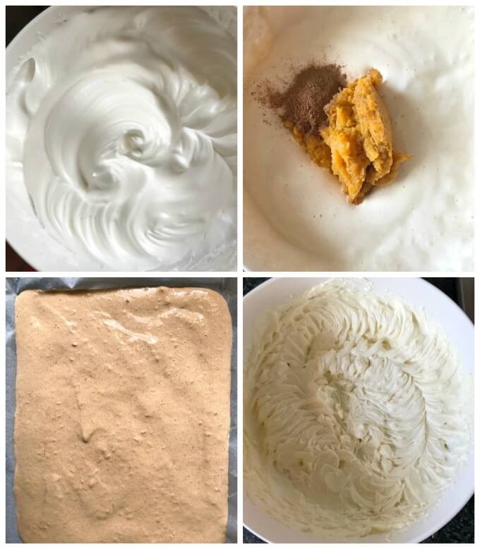Collage of 4 photos to show how to make pumpkin roll with cream cheese filling