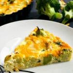 Crustless Broccoli and Cheese Quiche, a healthy recipe that is ready in about 30 minutes. Low carb, keto, and gluten free, this quiche caters for all tastes.