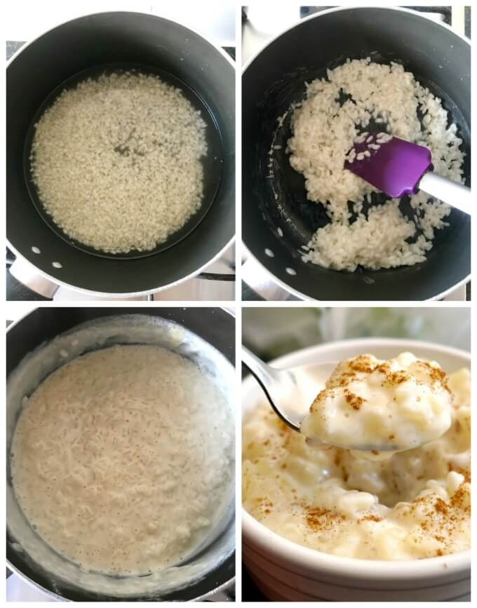 Collage of 4 photos to show how to make creamy rice pudding