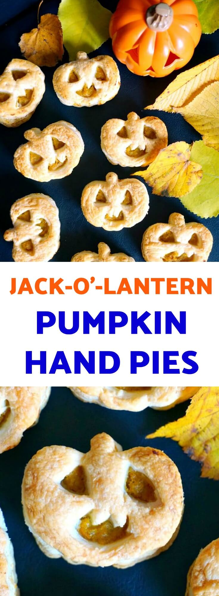 Jack-O'-Lantern Pumpkin Hand Pies, some delicious Halloween treats that you must try this Fall. Super easy and fun to make, these pies will be a big hit with everyone, from little to big tummies.