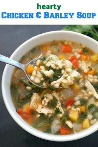 Hearty Chicken and Barley Soup with lots of vegetables, a healthy, quick and easy soup for those chilly days, although is light enough to be enjoyed throught the year.