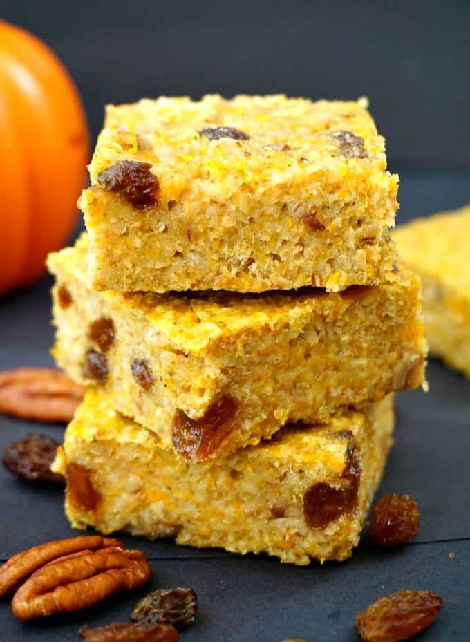 A stack of 3 pumpkin oatmeal bars