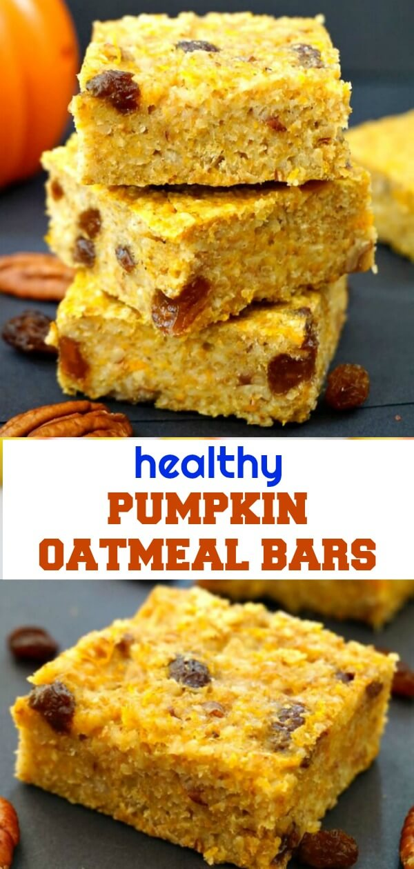 Healthy Pumpkin Oatmeal Bars with pecans and raisins, a guilt-free healthy snack for kids and grown-ups alike. With no refined sugar added, these bars are not only super delicious, but also super easy to make. A great Fall treat that goes well with the whole family this Thanksgiving and not only.