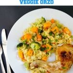 Roasted Chicken Leg Quarters with Vegetable Orzo