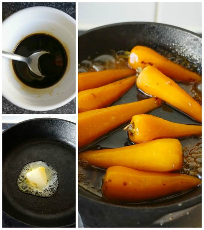 Collage of 3 photos to show how to make Soy Honey Glazed Baby Carrots