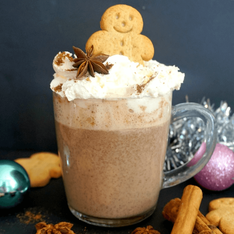 A cup of Gingerbread Hot Chocolate