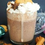 Gingerbread Hot Chocolate, an exquisite festive drink that can be enjoyed throughout the cold season, especially at Christmas. Serve it with some gingerbread man cookies, and let your taste buds be truly spoiled. Rich and luscious, this homemade hot drink is infused with earthy gingerbread spices to make the perfect christmassy treat. The dry mix is made with cocoa powder, spices and chocolate, then completed with full-fat milk for the best drink for chilly days. #hotchocolate, #gingerbread