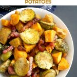 Maple Roasted Brussel Sprouts with Bacon and Sweet Potatoes, a delicious side dish for you Thanksgiving or Christmas dinner. Super easy to make, and super flavourful, this dish has a festive touch. Only one tray needed, to save you time and effort. A family-favourite side.