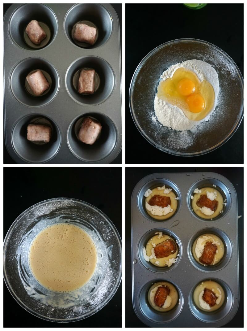 A collage of 4 photos to show how to make Mini Toad in the Hole Canapés