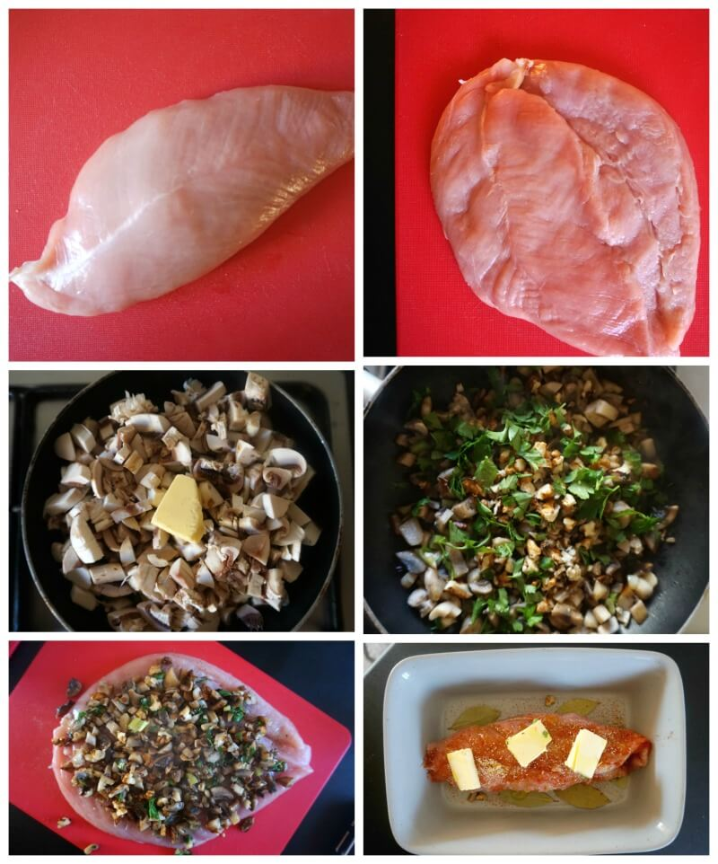 Collage of 6 photos to show how to make Stuffed Turkey Breast Roll