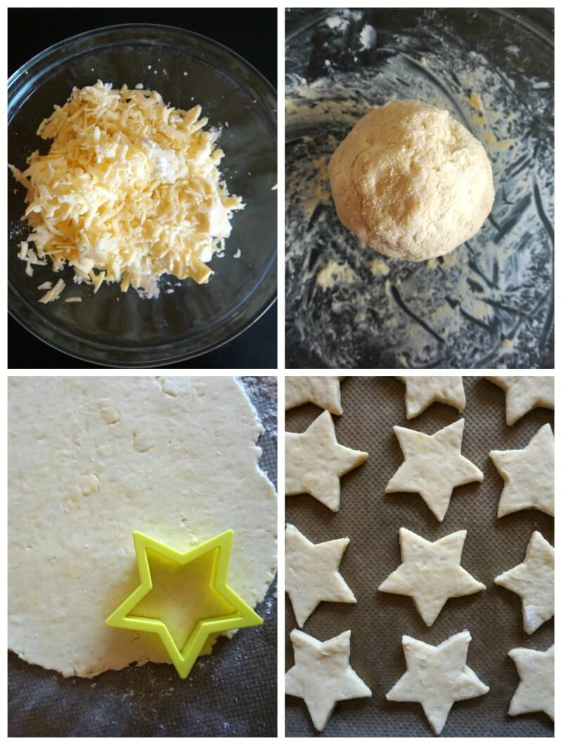 Collage of 4 photos to show how to make Homemade Cheese Crackers