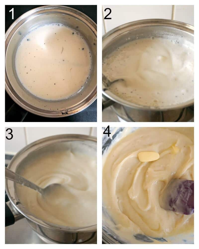 Collage of 4 photos to show how to make creme patissiere for profiteroles