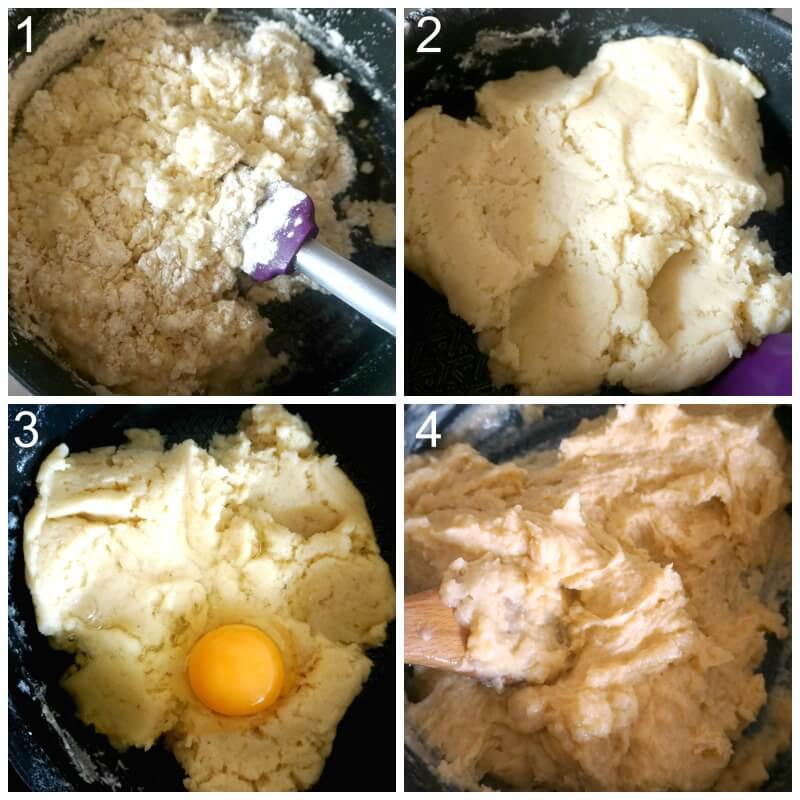 collage of 4 photos to show how to make choux pastry for profiteroles
