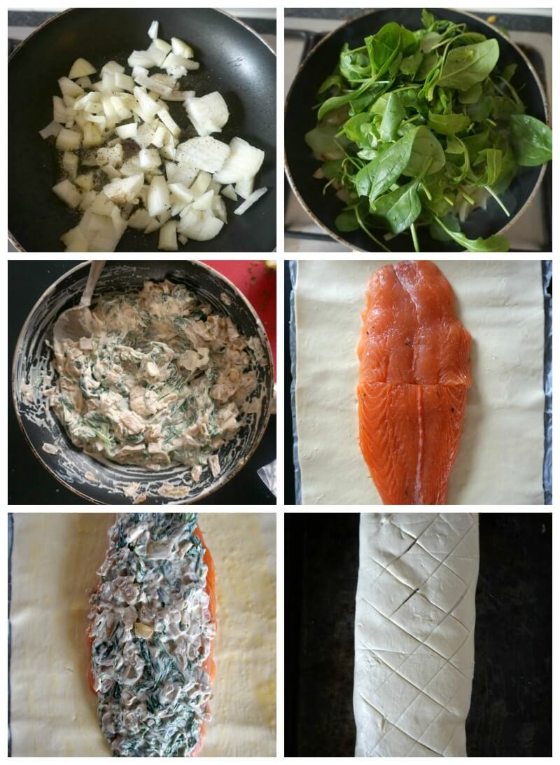 Collage of 6 photos to show how to make Salmon Wellington