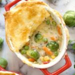 Overhead shot of a dish of vegetable pot pie