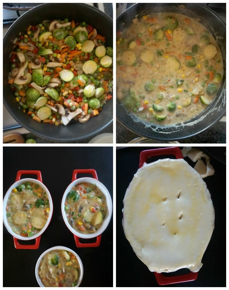 Collage of 4 photos to show how to make Vegetable Pot Pie
