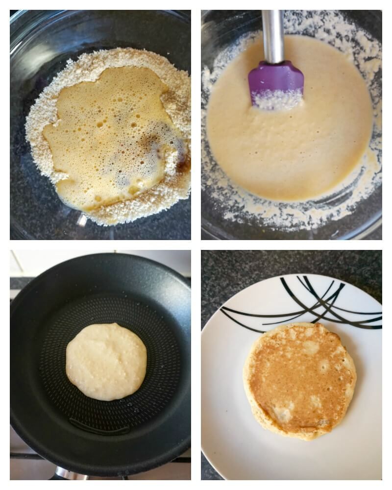 Collage of 4 photos to show how to make almond pancakes