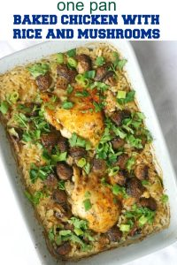 One-Pot Baked Chicken with Rice and Mushrooms and a refreshing cucumber salad on the side, a complete dinner recipe to be enjoyed by the whole family. Healthy, filling, gluten free, this dish is absolutely delicious.
