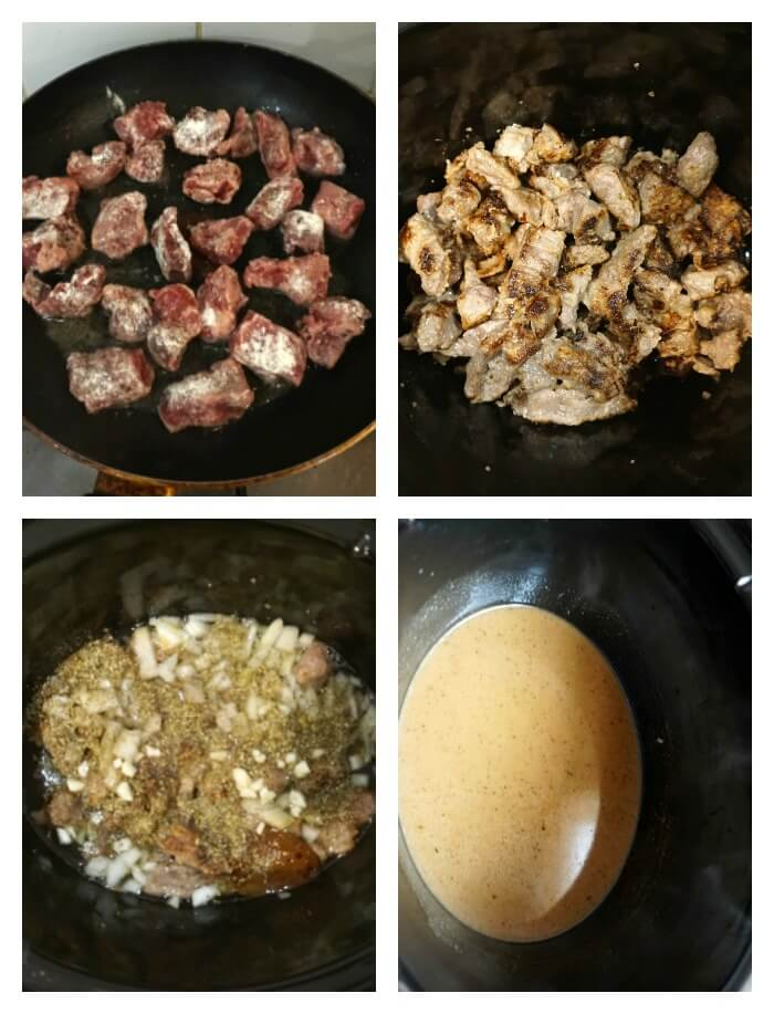 Collage of 4 photos to show how to make beef tips with gravy in the slow cooker