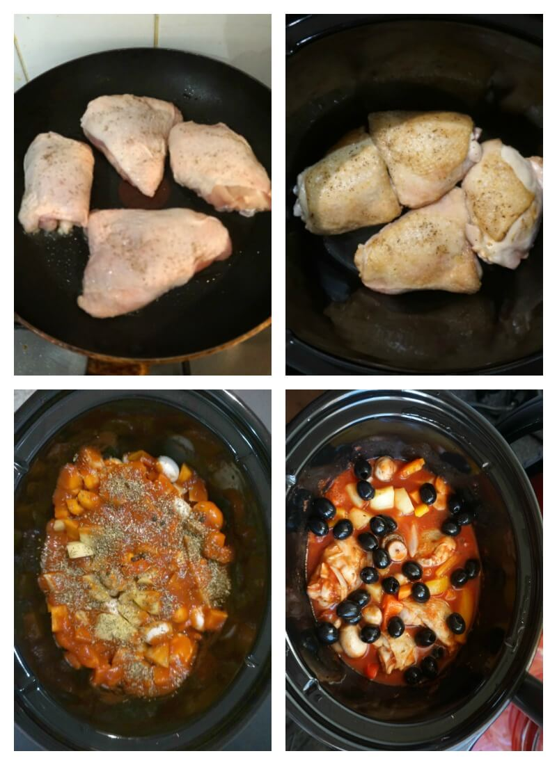 Collage of 4 photos to show how to make Slow Cooker Chicken Cacciatore