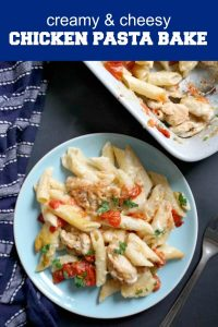 Mary Berry's Creamy Chicken Pasta Bake, a fantastic family meal that is super easy to make. A creamy, cheesy white sauce, garlicky chicken, and juicy fresh tomatoes, what a glorious dinner! Even fussy kids will love this casserole that sums up what comfort food is all about. Made with lots of cheddar cheese, this simple recipe is one after my own's heart.