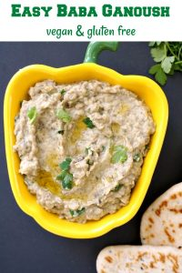 Easy Baba Ganoush Recipe, a vegan appetizer for any party. It's super delicious, and as a bonus point, it's vegan, gluten free and low carb too, which means everybody gets to enjoy it.