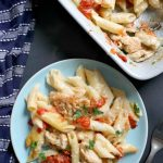 Mary Berry's Creamy Chicken Pasta Bake, a fantastic family meal that is super easy to make. A creamy cheesy pasta sauce, grilled garlicky chicken, and juicy fresh tomatoes, what a glorious dinner!