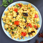 Overhead shoot of a plate with moroccan couscous