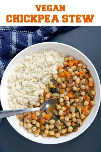 Vegan Chickpea Stew, a delicious midweek meal that is ready in only 30 minutes. Super nutritious, low in calories, and gluten free, this stew goes well with the whole family.