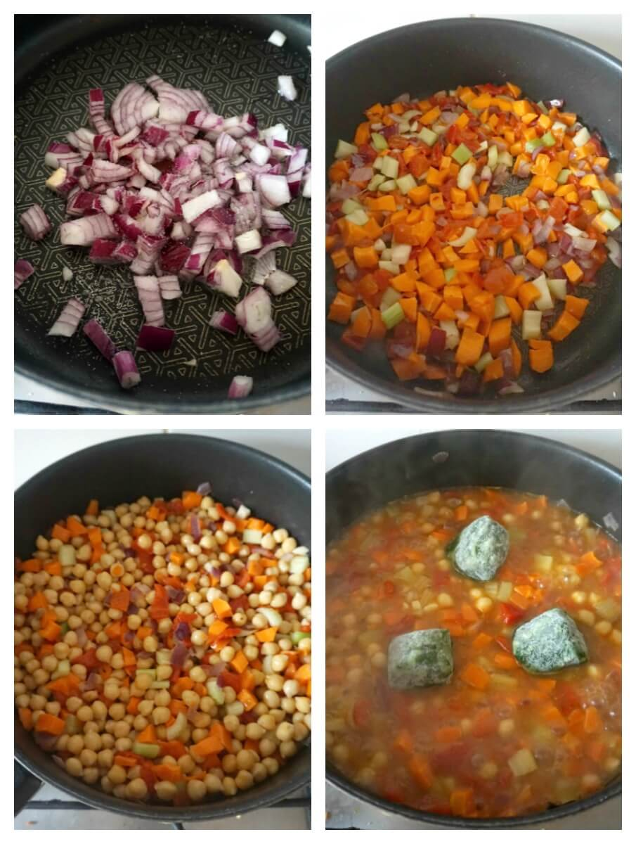 Collage of 4 photos to show how to make vegan chickpea stew
