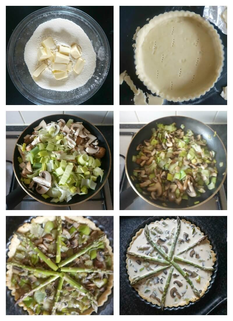 Collage of 6 photos to show how to make a quiche step by step