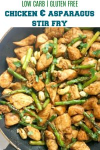 Quick Chicken and Asparagus Stir Fry, a delicious low-carb, protein-packed midweek meal ready in well under 15 minutes. It's super easy to make, and tastier than any take-away.