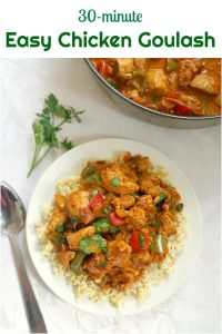 Easy Chicken Goulash, a delicious one-pot meal that is ready in 30 minutes. Packed with great flavours, this stew makes a great comfort food for the whole family. It's low carb, gluten free, and high protein.