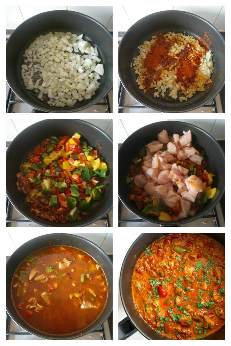 Collage of 6 photos to show how to make chicken goulash the easy way