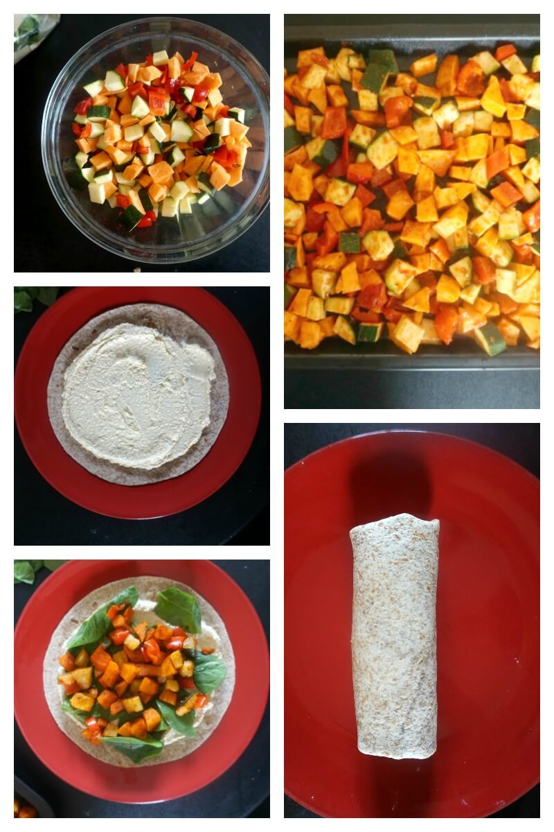 Collage of 5 photos to show how to make hummus wrap