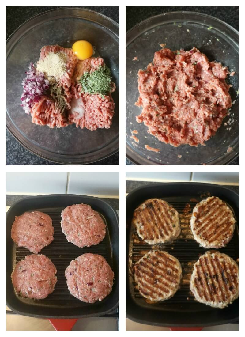 Collage of 4 photos to show how to make turkey and tarragon burgers