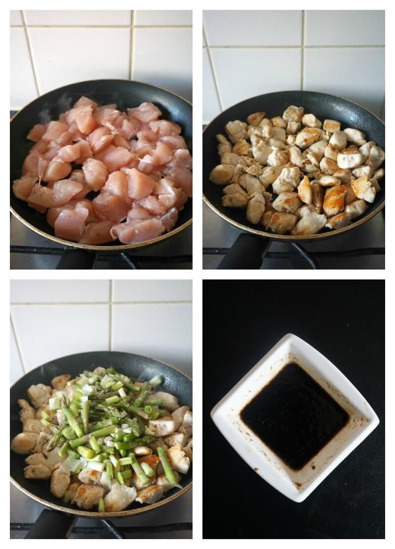 Collage of 4 photos to show how to make chicken and asparagus stir fry