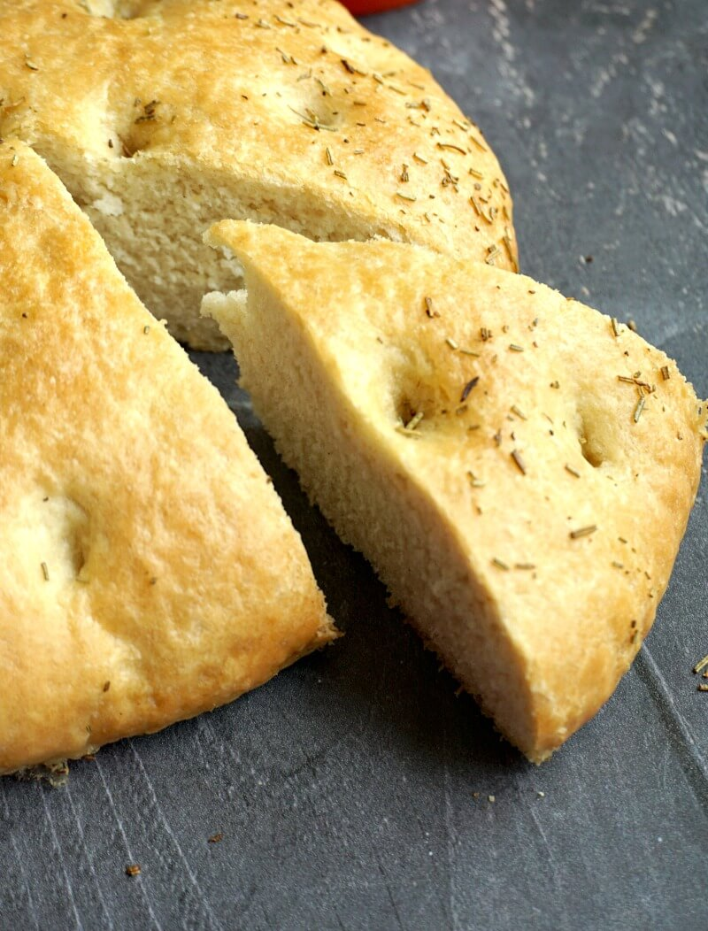A slice of focaccia out of the bread