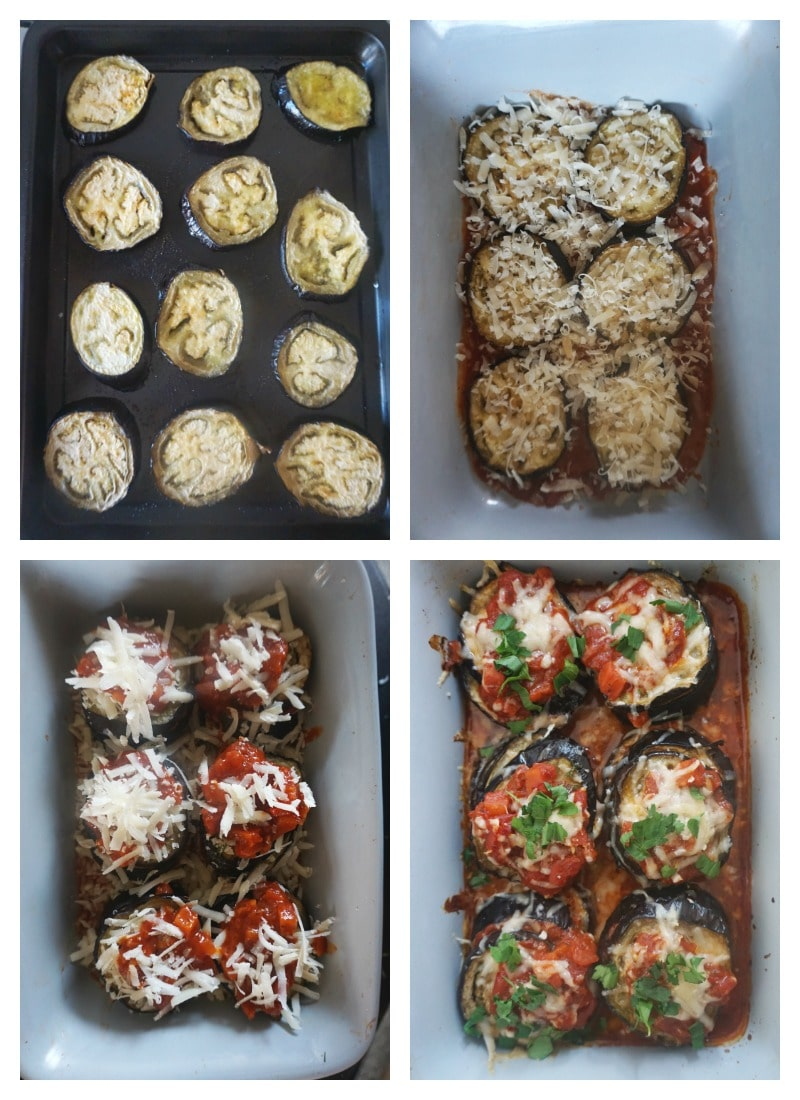 Collage of 4 photos to show how to make healthy baked eggplant parmesan stacks