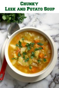 Chunky Leek and Potato Soup with no cream added, a healthy and nutritious vegetarian soup that the whole family can enjoy. It's ready in about 20 minutes or so, it's super easy to make, and delicious too.