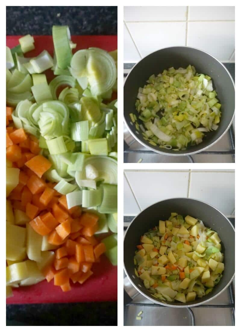 Collage of 3 photos to show how to make chunky leek and potato soup